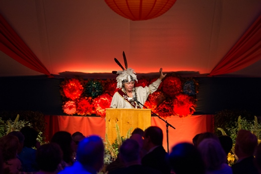 Doug George Kanentiio, Mohawk of the Bear Clan, speaks at the 2015 Annual Summer Gala.