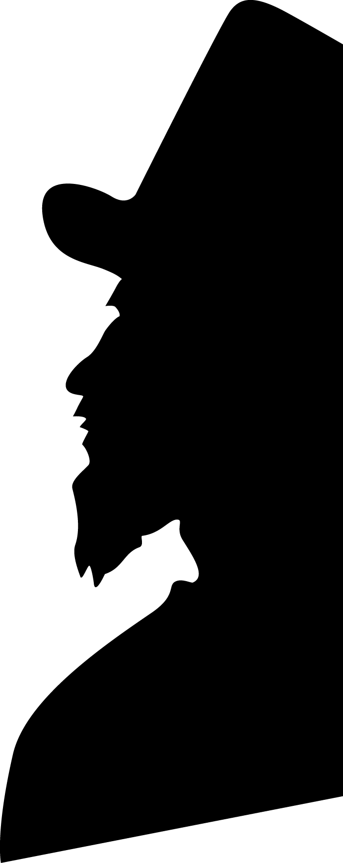 Silhouette of man in tophat