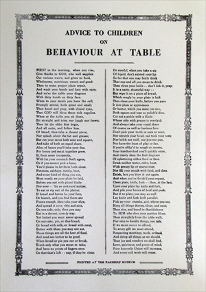 Handbill- Advice to Children on Behavior at Table
