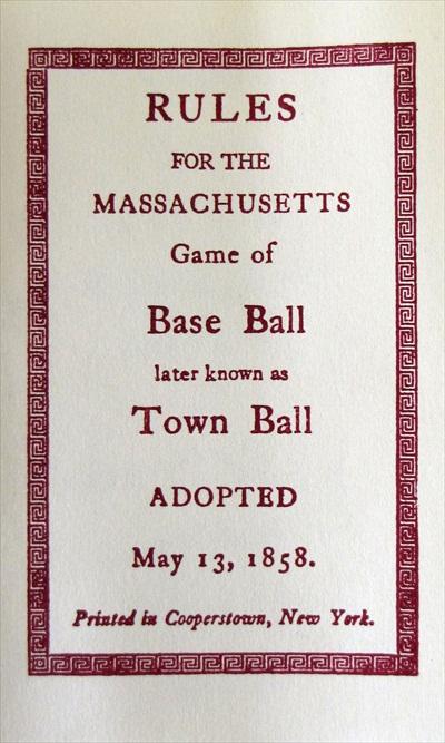 Town Ball- Massachusetts Rules of Baseball